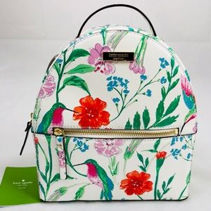 New! Kate Spade White Hummingbird Floral Backpack
